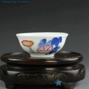 14AS144 35cc Chinese hand painted morning glory floral Porcelain Cups
