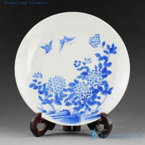 14AS44 Jingdezhen Porcelain Plate hand painted blue white floral butterfly