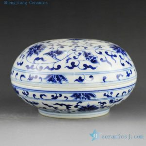 14AS46 Jingdezhen Porcelain Inkpad hand painted blue white flora design