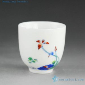 14AS56 50cc Chinese Porcelain Tea Cup, hand painted doucai floral design