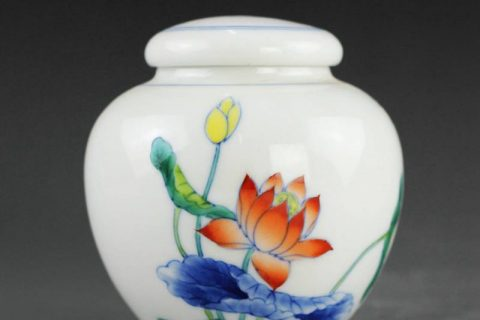 14AS69 8.5cm Chinese hand painted Porcelain Tea Jar Waterlily doucai design