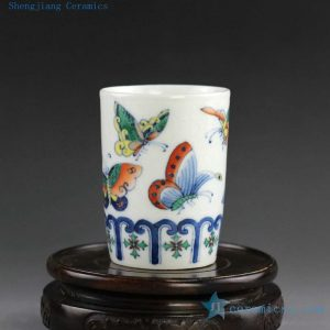 14AS83 150cc Chinese hand painted Porcelain Tea Cups butterfly doucai design