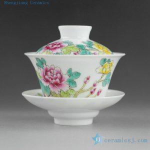 14NY23 Jingdezhen Hand painted floral Porcelain Gaiwan