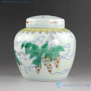14YM11 h12cm Jingdezhen Porcelain Tea Jar Hand made hand painted