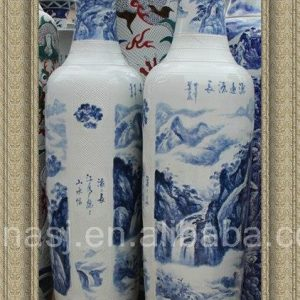 "70""-118"" Jingdezhen Hand made Blue and White Huge Floor Vase"