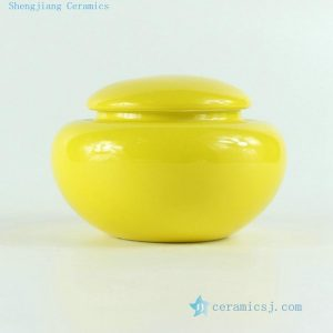 "RYKD21 H2.7"" jingdezhen yellow porcelain Tea Jar"