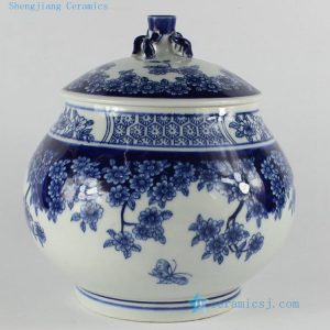 "RZB02 H8.2"" jingdezhen blue and white floral porcelain Tea Jar"