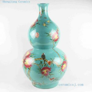 "RYRK14 h23.8"" Oriental Porcelain Vase, blue famille rose hand painted peach"