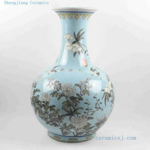 "RYRK16 H21.5"" Hand painted Chinese antique blue ceramic vases"