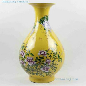 "RYRK18 17"" Hand painted ceramic Chinese flower vase"