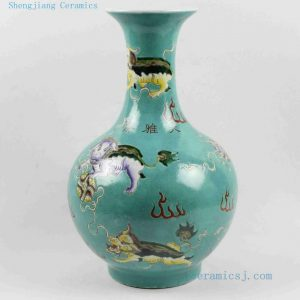 """RYRK18 h15"""" Qing dynasty artifacts Porcelain Vase, blue famille rose hand painted lions"""