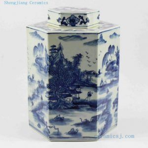"RYUK12 H11.5"" Hand painted landscape Jindezhen Porcelain Blue and White Cookie jars"