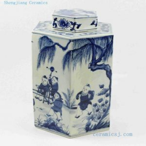 "RYUK14 H11.5"" Jindezhen Porcelain Blue and White Ceramic jars, Hand painted Children design"