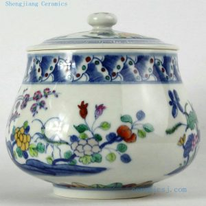 "RYJH08 D6"" Jindezhen Porcelain Tea jars, Hand painted floral design"