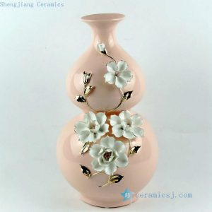 "RZCB01 h14"" Pink with flower Porcelain flower vase"