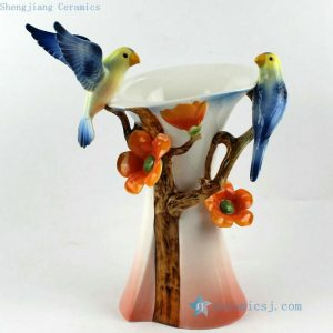 "RZCB02 h13.7"" flower bird Porcelain wedding vases"