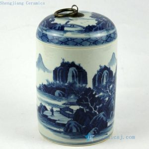 "RZCC01 h7"" Hand painted blue and white Porcelain Canister with ring lid"