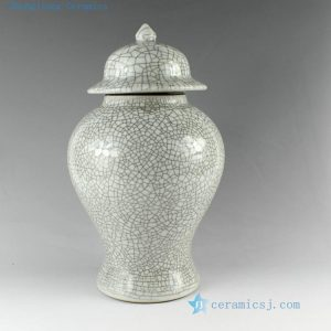RYZR03 13.8inch Crackle Glazed Ceramic Ginger Jar