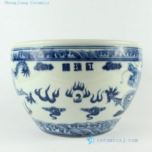 RZCL01 10inch Hand painted Blue White Dragon Bowl