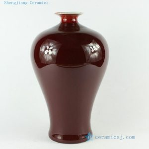 "RZCN01 H11.8"" decoration vase Blood Red Porcelain Vase"