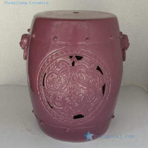 "RYNQ147 H17"" Purple Carved lion ring Ceramic Garden Stool"