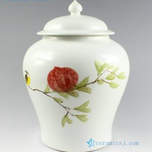 "RZAR03 h11"" Matte white hand painted Ginger Jar"