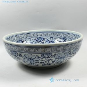 "RZCE01 d16.5"" Jingdezhen Blue and white floral Ceramic Bowl"