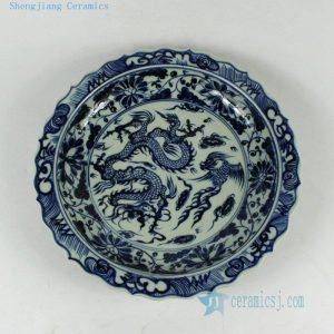 RYVH17 11.8inch White and Blue dragon Plate