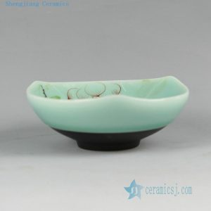 RYZU13 Jingdezhen Porcelain Tea Cups celadon color with HAND made hand painted floral design