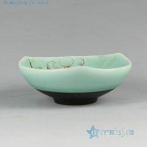 RYZU13 Jingdezhen Porcelain Tea Cups celadon color with HAND made hand painted floral design