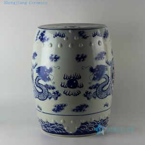 "RYLU14 H18"" Chinese Blue white Dragon Ceramic Stool"