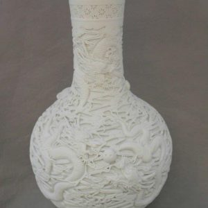 Hand grave Chinese dragon White Porcelain Vase H55cm WRYSX03