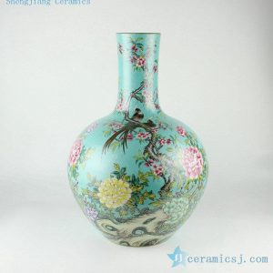 "RYHV33 H21.6"" Hand made needle painted Porcelain Vase"
