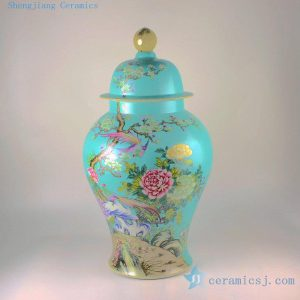 "RYHV35 H22.5"" High quality Hand made needle painted Porcelain Ginger Jar, Flower bird design"