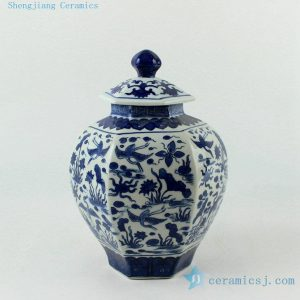 "RYJF56 H9.5"" Blue and White 6 sided crane design Porcelain Jar"