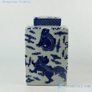 "RYJF57 H10"" Square lion design Blue and White Ceramic Jar"