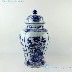 RYJF59 20.5inch Blue flower bird Porcelain Temple Jar