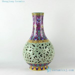 RYLW14 17inch High quality reproduction hand painted hand carved Qing dynasty reproduction Porcelain Vase