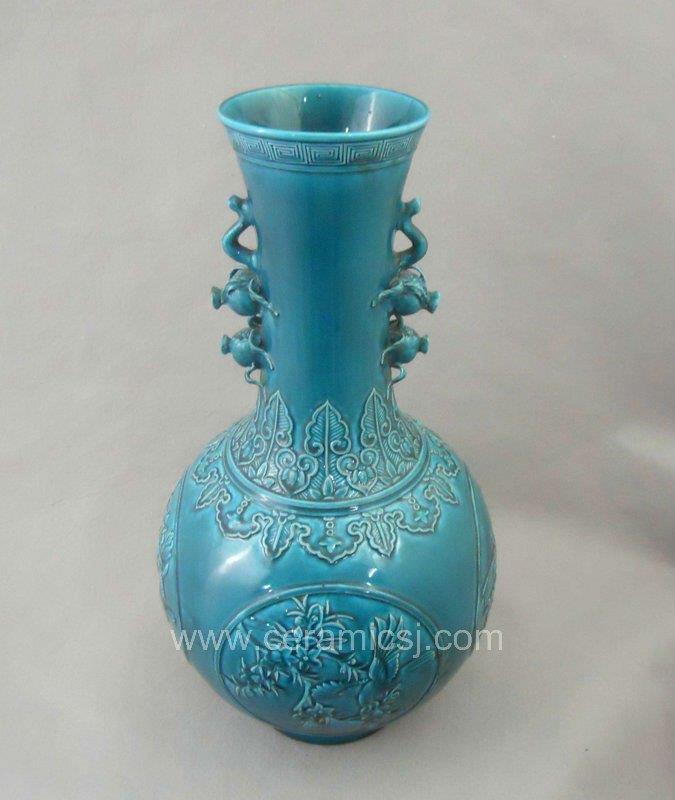 Qing dynasty blue glazed carved bird flower ceramic vase WRYRA03