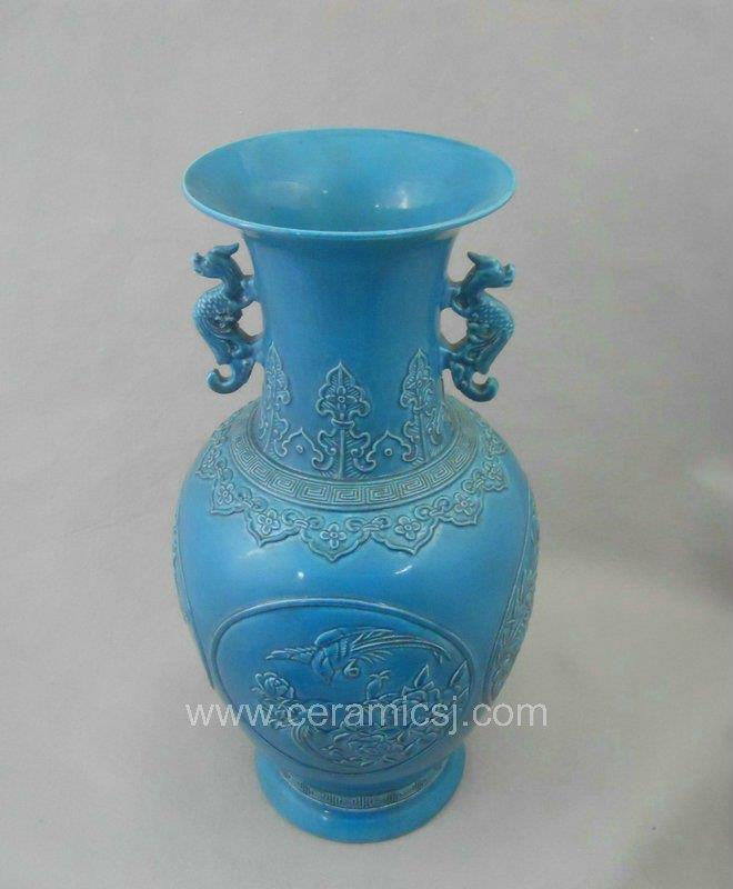 Qing dynasty blue glazed carved bird flower ceramic vase with handle WRYRA04