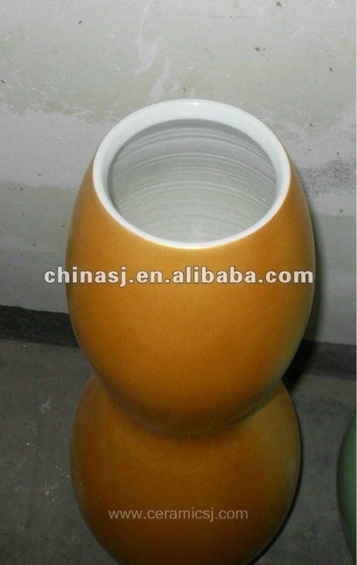 beautiful hand made yellow ceramic gourd Vase WRYKB91