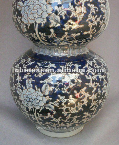 blue and white gilt ceramic Home Decor Flower Vase RYTA07