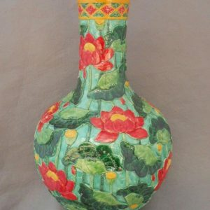 hand engraved ceramic flower vase WRYSX01