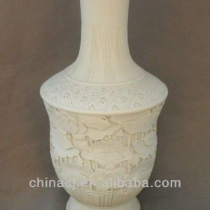 hand carved White Oriental Ceramic Vase WRYSX04