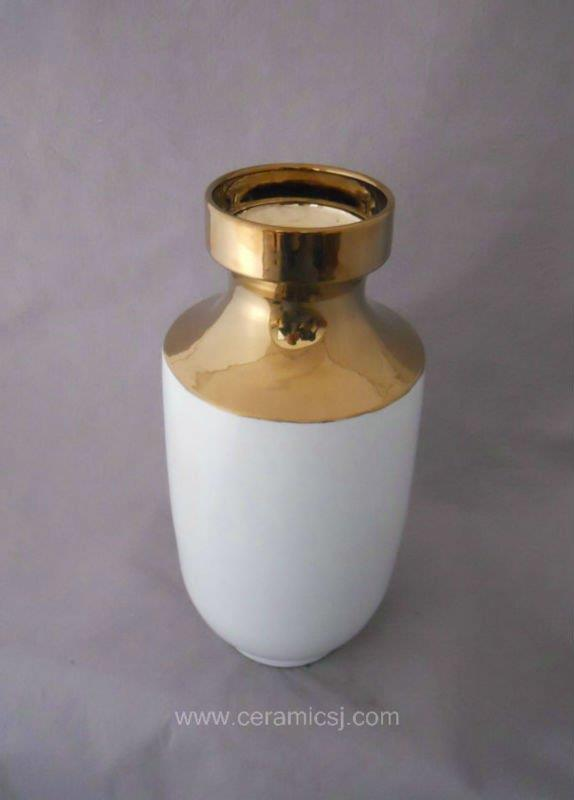 Contemporary white with gold Ceramic Vase WRYKB80