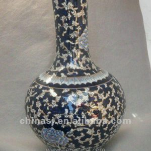 blue and white gilt ceramic Home Decor Flower Vase RYTA02
