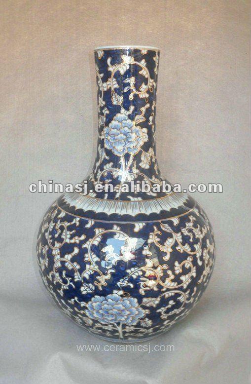 blue and white gilt ceramic Home Decor Flower Vase RYTA02