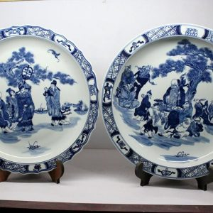 RZBD08 hand painted blue white porcelain plates
