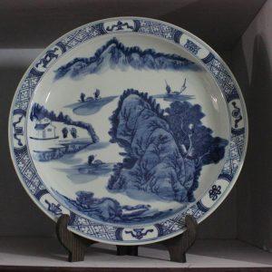 RZBD07 hand painted blue white landscape porcelain plates