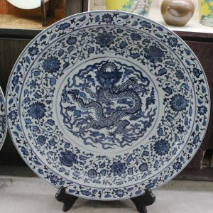 "RZBD06 15.7"" hand painted blue white porcelain dragon plate"